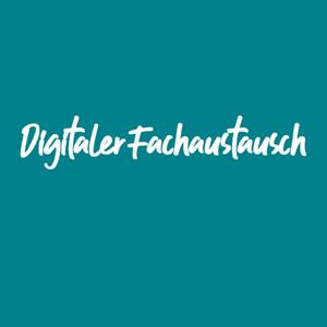 Schriftgrafik: Digitaler Fachaustausch steht in weiß auf türkisblauen Grund geschrieben.