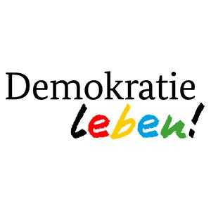Schriftgrafik: Demokratie leben!
