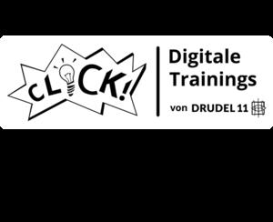 Schriftgrafik: CLICK! Digitale Trainings von DRUDEL 11