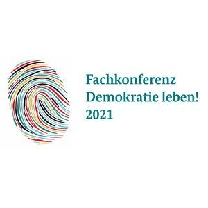 Stilisierter Fingerabdruck neben Schriftgrafik: Fachkonferenz Demokratie leben! 2021