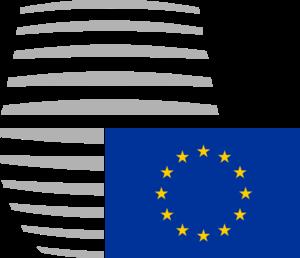 Europaflagge vor abstrakter Form