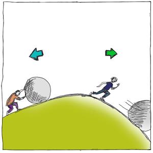 Zeichnung: Zwei Personen auf einem Hügel, die eine rollt einen Stein hoch und die andere Person rennt auf der anderen Seite einem rollenden Stein hinterher. Über ihren Köpfen ist jeweils eine Pfeiltaste abgebildet – nach links und nach rechts. Zeichnung: Kai Schmidt