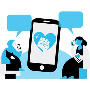 Grafik mit zwei Engagierten, die sich per Telefon unterhalten.